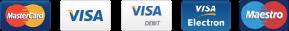 MasterCard, Visa, Visa Debit, Visa Electron, Maestro
